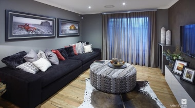 Home theatre design. - The Macquarie Display Home ceiling, interior design, living room, property, real estate, room, gray, black