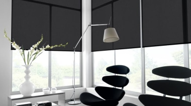 luxaflex roller blinds - luxaflex roller blinds - angle, black and white, chair, furniture, glass, interior design, light fixture, lighting, product design, table, wall, black, white