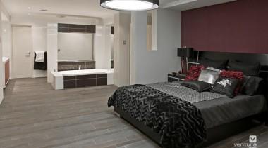 Master Ensuite Design. - The Dynasty Display Home bed frame, bedroom, ceiling, floor, flooring, interior design, room, wall, wood flooring, gray