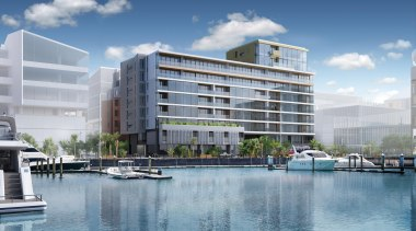 132 Halsey is a centrepiece of Wynyard Quarter, apartment, building, commercial building, condominium, corporate headquarters, estate, headquarters, home, hotel, marina, metropolitan area, mixed use, property, real estate, residential area, urban design, waterway, gray