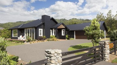 Fowler Homes Tauranga.Gold reserve winner and National finalist cottage, elevation, estate, facade, farmhouse, home, house, landscape, property, real estate, residential area, gray, white