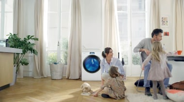 Front Load Crystal Blue Washing Machine WW9000 9kg. floor, flooring, furniture, home, interior design, product, room, window, white