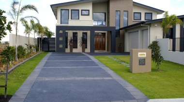 Colourmix 40 - Colourmix_40 - building | driveway building, driveway, elevation, estate, facade, home, house, neighbourhood, official residence, property, real estate, residential area, walkway, gray