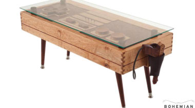 Game on! This retro-styled coffee table is a coffee table, furniture, product design, table, white