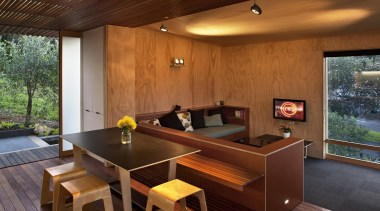 Coromandel, New Zealand - Studio 19 Onemana Bach architecture, house, interior design, living room, real estate, table, wood, brown