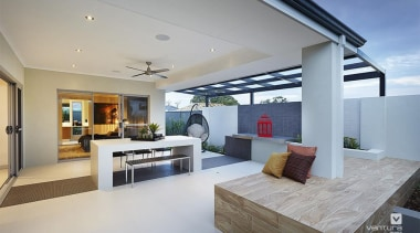 Alfresco entertaining. - The Allure Display Home - house, interior design, living room, real estate, gray