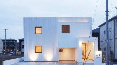 Trapezium House, Tsukuba City, JapanKichi Architectural Design architecture, building, facade, home, house, white, teal