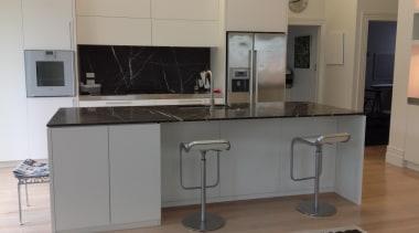 Kitchen Island and Splash Backby Maggie Bryson Interiors cabinetry, countertop, cuisine classique, home appliance, interior design, kitchen, kitchen stove, property, real estate, room, gray