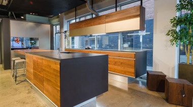 Pepper Design/ TEAM7 kitchen with Natural Walnut finish countertop, interior design, kitchen, brown, gray