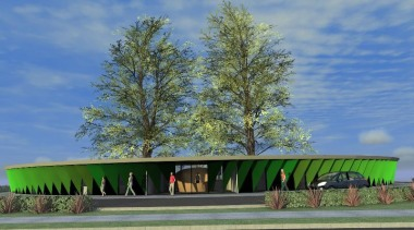 Entrance to green childcare - Chrysalis childcare - architecture, grass, house, landscape, plant, sky, structure, tree, teal