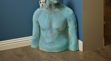 blue house 4 - blue_house_4 - art | art, classical sculpture, sculpture, statue, trunk, brown, teal