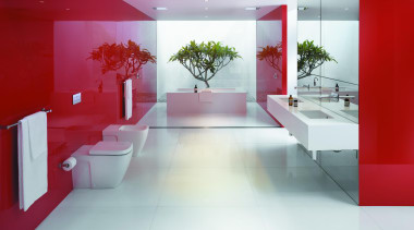 Caroma Cube Invisi II toilet suite: Available as architecture, bathroom, ceiling, floor, flooring, interior design, product design, tile, white, red