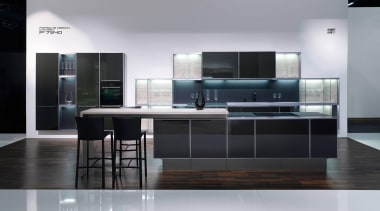 Showroom kitchenFor more information, please visit Poggenpohl countertop, floor, furniture, interior design, kitchen, product design, gray, black