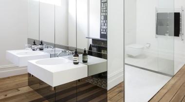 Architects Prineas – winner - 2015 Trends International bathroom, bathroom accessory, bathroom cabinet, floor, flooring, interior design, laminate flooring, product, product design, sink, tap, tile, wood flooring, white