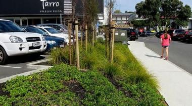 EXCELLENCE AWARDFarro Fresh Retail Development Grey Lynn (1 asphalt, car, grass, landscape, motor vehicle, parking, parking lot, plant, residential area, road, sky, tree, vehicle, teal