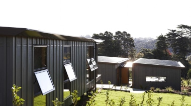 Waitakere Ranges - Studio 19 VisionWest Community Housing architecture, cottage, home, house, real estate, shed, white, black