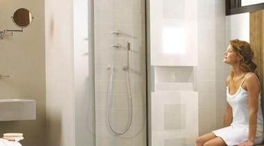 With a sleek design, Vedana is the perfect bathroom, floor, flooring, home appliance, interior design, plumbing fixture, room, shower, white