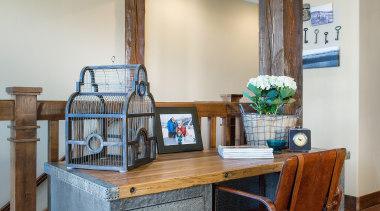 Mountain Modern - Great Room Desk Area - desk, furniture, home, interior design, table, gray