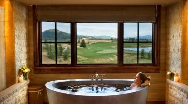 Free Standing Stainless Steel Japanese Tub with Built bathroom, bathtub, estate, interior design, real estate, room, suite, window, brown
