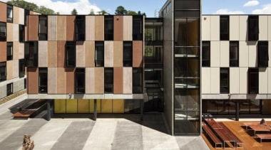 Carlaw Park Student Village in Auckland accommodates students architecture, building, condominium, facade, gray, black