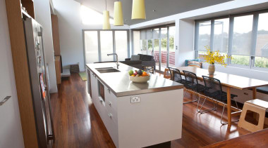 The new kitchen island bench is detailed as countertop, interior design, kitchen, real estate, white, brown, gray