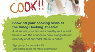 41359 kids can cook a5 poster auckland.jpg - advertising, font, text, white, green