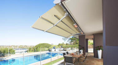 luxaflex sunrain awning - luxaflex sunrain awning - apartment, awning, daylighting, estate, house, property, real estate, roof, shade, villa, gray