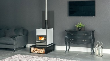 Pyroclassic IV in Arctic White - Pyroclassic IV hearth, home appliance, stove, wood burning stove, gray, black