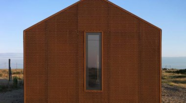 Pobble House, Dungeness, United KingdomGuy Hollaway Architects architecture, building, elevation, facade, home, house, roof, shed, siding, sky, brown, teal