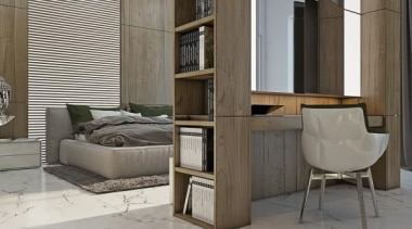 bedroom workplace - Masculine Apartments - floor | floor, furniture, interior design, product design, shelving, table, gray