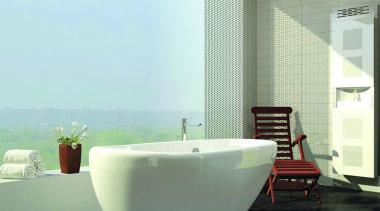 Vedana care unit with Essencia freestanding bath - bathroom, bathtub, bidet, daylighting, floor, glass, interior design, plumbing fixture, tap, window, white