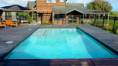 Gold Award recipient for Residential Swimming Pools under backyard, estate, home, house, leisure, property, real estate, residential area, resort, swimming pool, water, teal