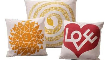 The architect and designer Alexander Girard was one cushion, orange, pillow, product, throw pillow, yellow, white