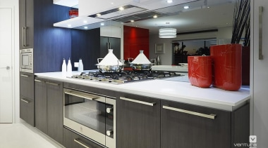 Kitchen design. - The Montrose Display Home - countertop, interior design, kitchen, black, gray, white