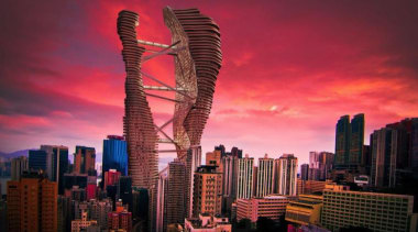 Skyscraper - building | city | cityscape | building, city, cityscape, daytime, downtown, dusk, evening, landmark, metropolis, metropolitan area, sky, skyline, skyscraper, sunset, tourist attraction, tower, tower block, urban area, red