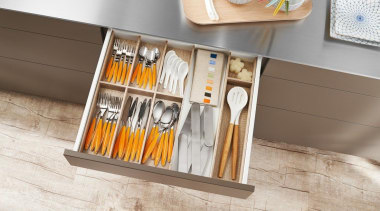 AMBIA-LINE inner dividing system – organization at its drawer, floor, flooring, furniture, product design, shelf, table, wood, gray