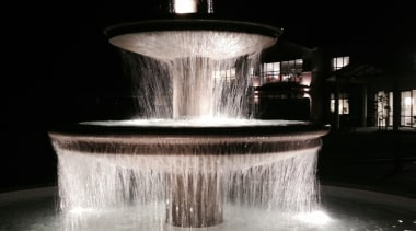 Karaka Water Feature 2 - Karaka Water Feature darkness, fountain, lighting, night, reflection, water, water feature, black, gray