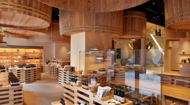 The Kayanoya Shop is a reproduction of a architecture, interior design, wood, brown