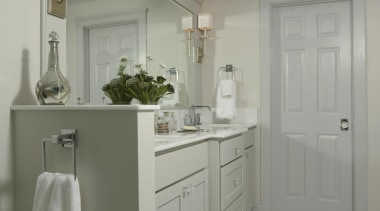 We reconfigured this Master Bathroom to be a bathroom accessory, cabinetry, floor, home, interior design, room, gray