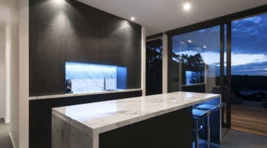 Black and white kitchen design with hidden storage architecture, countertop, glass, interior design, lighting, property, real estate, window, black, gray