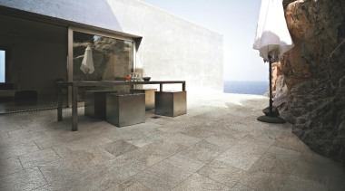 Quarzite barge outdoors floor tile - Stone D floor, flooring, tile, wood flooring, gray, black