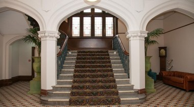 MERIT WINNERKnox College - Dunedin (4 of 4) arcade, arch, architecture, ceiling, column, estate, interior design, lobby, stairs, structure, gray, brown