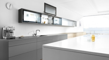 Lift Up System - AVENTOS HL - countertop countertop, interior design, kitchen, sink, tap, white, gray