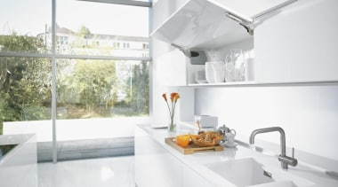 Stay Lift System - AVENTOS HK - architecture architecture, countertop, house, interior design, kitchen, real estate, sink, tap, white