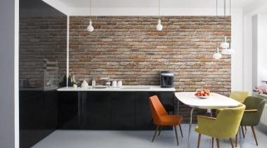 Backstein Interieur - Italian Color Range - architecture architecture, countertop, floor, flooring, furniture, interior design, kitchen, loft, table, tile, wall, gray, white