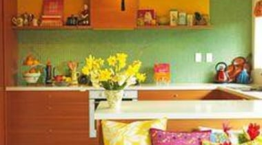 Highly Commended Kitchen by Fiona Jeffcoat Photo by home, interior design, living room, room, wall, yellow, orange, brown
