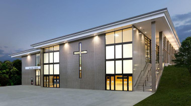 EXCELLENCE AWARDPaul Keane Gymnasium St Marys College Auckland architecture, building, corporate headquarters, elevation, facade, home, house, property, real estate, window, gray, teal