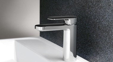 Cerchio Basin Mixer is the perfect feature tap angle, bathroom sink, hardware, plumbing fixture, product, product design, tap, white, black