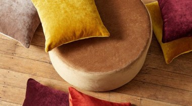 Endulge your senses with VICTORY, a velvet look cushion, pillow, textile, brown, red, orange