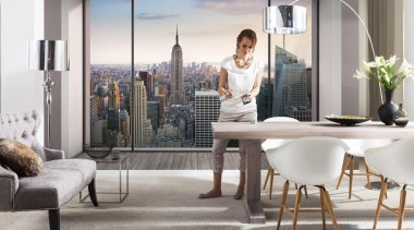 Penthouse Interieur - Italian Color Range - chair chair, furniture, home, interior design, living room, room, table, window, white, gray